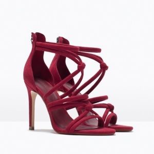 Zara Red Knotted Heels